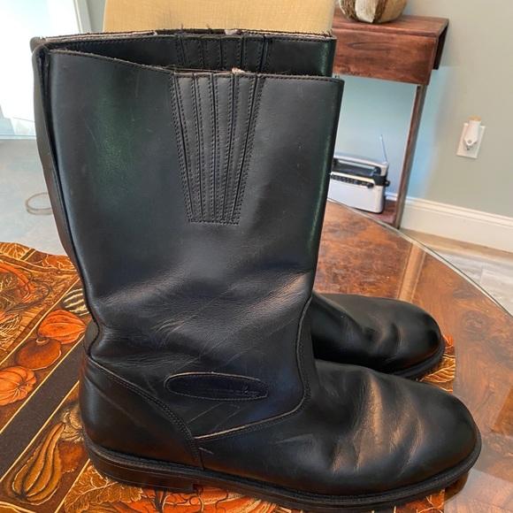 mens black leather biker boots